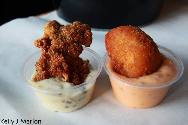 Deep fried duo- cod nugget with chipotle aioli, deep fried oyster with tartar sauce