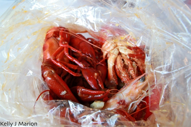 Crawfish and shrimp in a bag