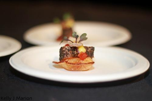 Savory Chef's Pepper Crusted Seared Albacore Tune, Tomato Gelee, Crispy Onion Ring