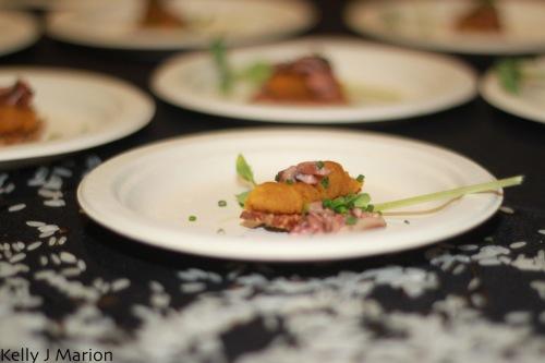 Wild Rice's Smoked Kabocha Squash, Braised Shitake Mushrooms on a Sesame Cracker