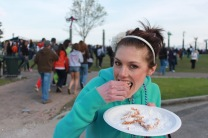 New Orleans eating a funnel cake
