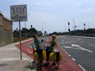 Kelly and Kristan - the weaving cyclists