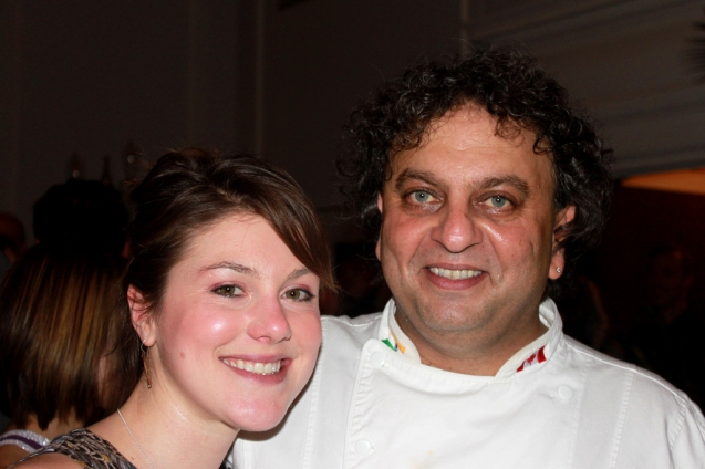 Hanging out with Vikram Vij after gobbling up his goat curry (Big Night 2012)