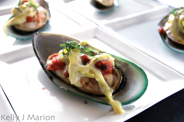 New Zealand Green Lip Mussels with Roasted Tomato & Creamed Leeks