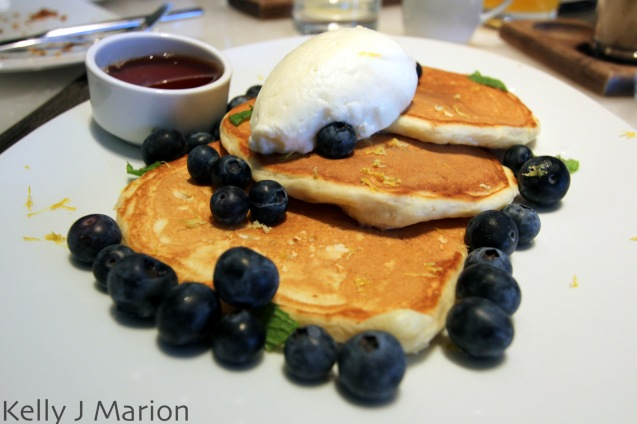 Lemon Ricotta Pancakes with Fresh Blueberries + Quebec Maple Syrup