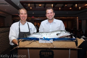 Chef Julian Owen-Mold with Jonathan Larry of Skuna Bay Salmon
