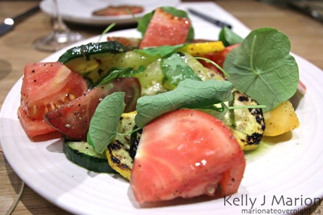 Heirloom Tomatoes, Grilled Zucchini, Nasturtium Leaves