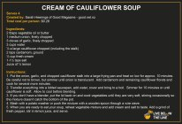 Lunch - Cream of Cauliflower Soup